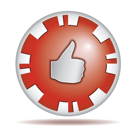 Like  Big thumb up  Shiny red round button isolated on white background
