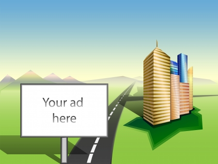 high visibility: Large Billboard with white copy space  Cityscape  Grass  Road to mountains skyline  Illustration