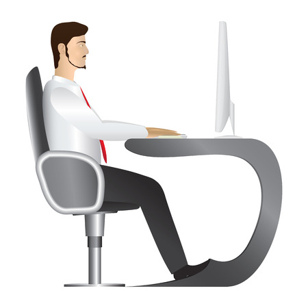 Office worker in white shirt and red tie sitting in comfortable armchair and working on monoblock desktop computer  Vector
