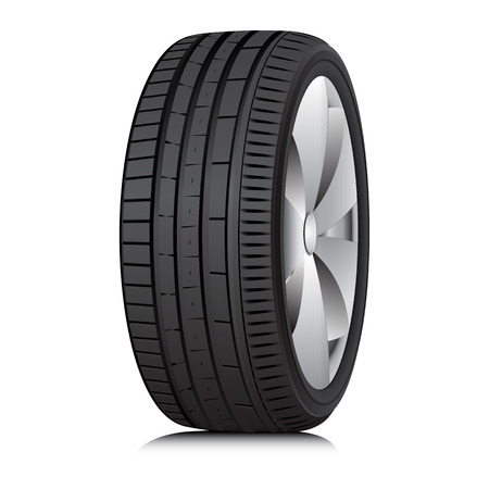 winter tire: Matte Black tubeless low profile tyre on the shiny silver drive, isolated on white background  Illustration