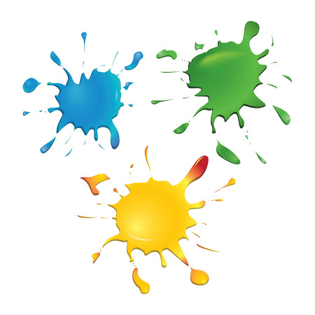 Set of vector color ink blots, isolated on white background. Blue, green, yellow. Light reflection. Vector