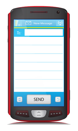 Touchscreen mobile phone with copy space for placing text of SMS or E-Mail message. Vector illustration, isolated on white background.