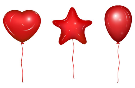 Red vector holiday balloons with ribbons. Heart, Star and simple form.