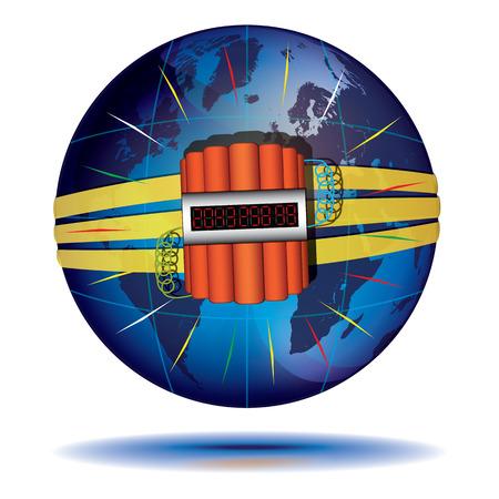 imminence: Globo azul y la dinamita con temporizador de cuenta atr�s en �l. Concepto de cat�strofe. Vectores