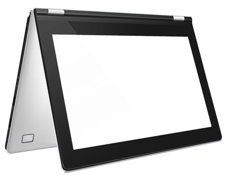 Modern silver convertible laptop with blank white screen, isolated on white background. Illustration