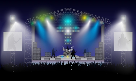 オープンエア: コンサート ロック ミュージシャンのシルエット、リズムとソロ ギター、低音のギタリスト、ドラマー、キーボード オープンエア興奮した群衆段階夜の青空の下で女の子  イラスト・ベクター素材