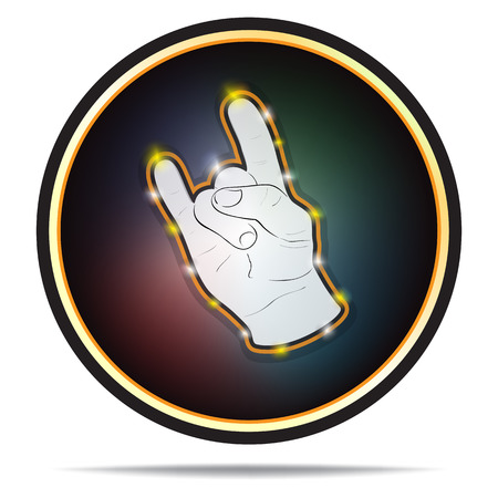 Rock hand sign in circle shape. Vector icon. Isolated on white background.