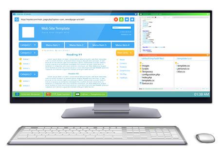 css: Flusso di lavoro di sviluppo di siti web template sul monitor widescreen tastiera del computer wireless Slim e mouse vicino ad essa contenuto di visualizzazione del browser web, editor CSS e software FTP