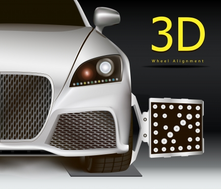 Advertising image for 3d wheel alignment service. Modern car with sensor on wheel.