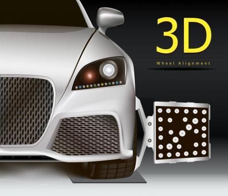 alineaci�n: La publicidad para el servicio de alineaci�n de las ruedas 3d. Moderno del coche con el sensor en la rueda. Vectores