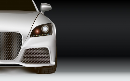 car front: Dark background with shiny silver sport car. Left bottom half. Closeup. Front view. Copy space for user content.