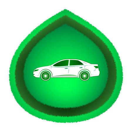 Eco-friendly white car on green leaf. Icon, isolated on white .