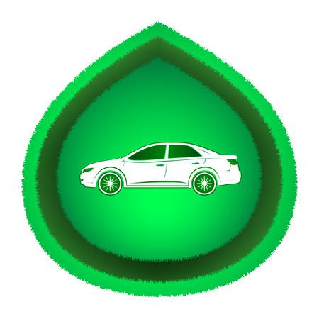 car leaf: Eco-friendly white car on green leaf. Icon, isolated on white .