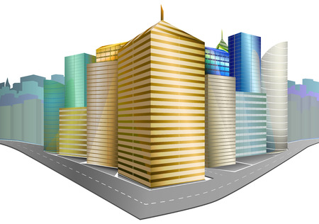 Vector illustration of city district: High skyscrapers, Road, Blue sky. Perspective view. Isolated on white .