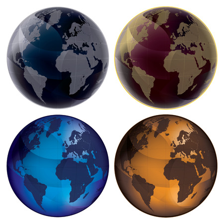 Set of color globes, isolated on white background: blue, dark blue, orange and vinous. Map of Earth planet. Illustration