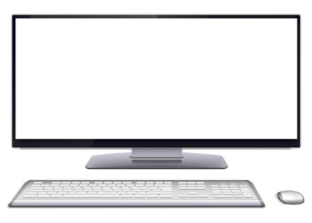 Modern monoblock desktop computer with blank white wide screen display, silver wireless mouse and keyboard  Vector illustration, isolated on white background