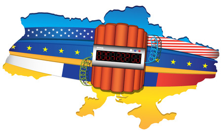 Ukraine conflict  map wrapped by USA, European Unit and Russian flags  Big explosive with timer  Vector illustration isolated on white background