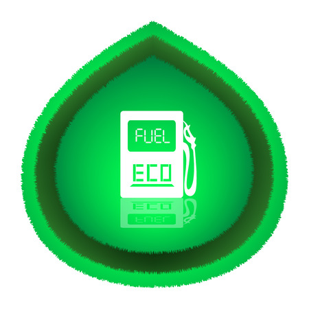 Eco Fuel Concept  Big green leaf with white gas station icon over it  Vector illustration, isolated on white background  Illustration