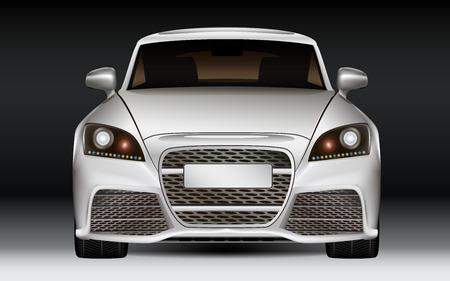 銀のモダンな高級スポーツ車、フロント ビュー暗い背景