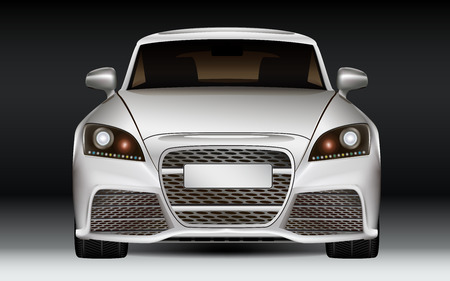 exotic car: Silver modern luxury sports car, front view  Dark Background  Illustration