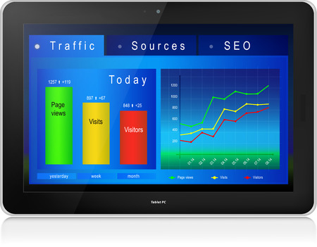 Web analytics charts on screen of black laptop PC. Reflection.  Illustration