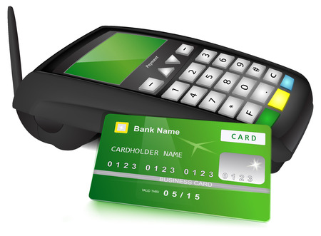 Payments concept  Modern wireless POS terminal and bank card with green design near it  Vector illustration, isolated on white background