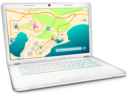 Online GPS city map on display of modern silver notebook computer. Vector illustration, isolated on white background Illustration