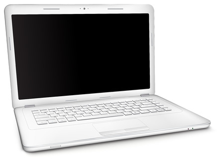 Silver laptop with copy space at black blank screen, isolated on white background. Three-quarter view. Illustration