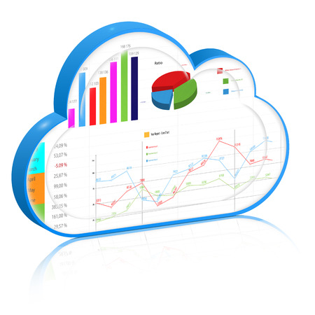 Blue 3d cloud with business report inside it: spreadsheet and charts . Vector icon, isolated on white background.