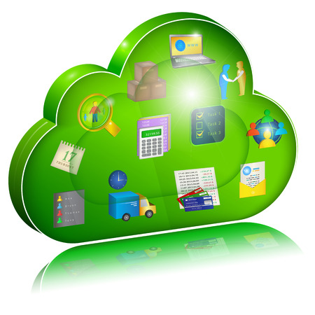 Digital enterprise management in cloud application. Concept icon.