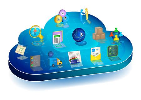 3d blu nuvola con le icone di gestione dei processi aziendali su di esso: Contabilità, Inventario, rapporti con i clienti, Electronic Document Interchange, Banche, logistica, pianificazione, gestione del personale.