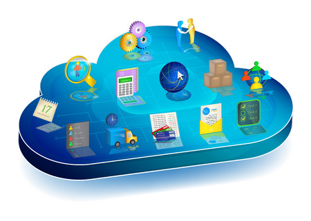 crm: Blue 3d cloud with enterprise process management icons on it: Accounting, Inventory, Client Relationships, Electronic Document Interchange, Banking, Logistics, Scheduler, Personnel Management. Illustration