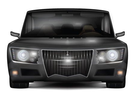 The dark sedan car in retro style isolated on white background. Realistic detailed front view. Vector illustration. Illustration