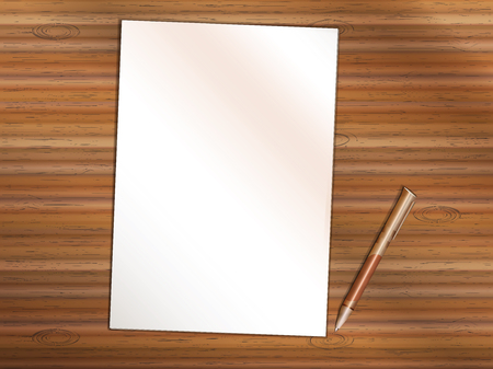 Blank sheet of white paper on wooden table. Brown premium rollerball pen near it. Copy space for Your custom printed or written text. Illustration