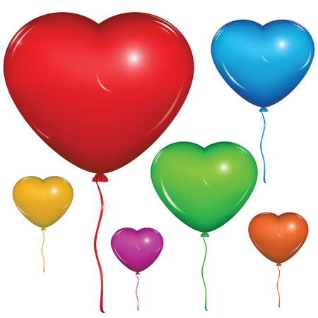 Set of shiny vector heart balloons: red, green, blue, purple, orange, yellow. Isolated on white background.