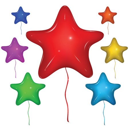 Set of shiny vector star balloons with strings: red, green, blue, purple, orange, yellow. Isolated on white background.