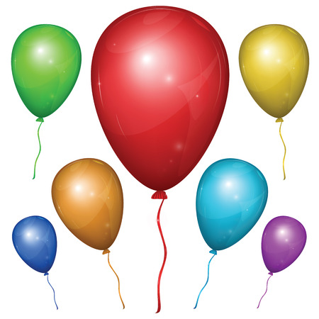 Set of shiny vector balloons with strings: red, green, blue, purple, orange, yellow. Isolated on white background.