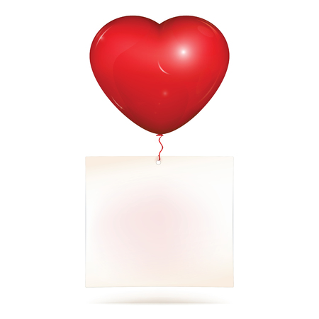 Blank paper note hanging on red heart helium balloon. Copy space for greeting text to saint Valentines day or love note. Vector illustration, isolated on white background. Illustration