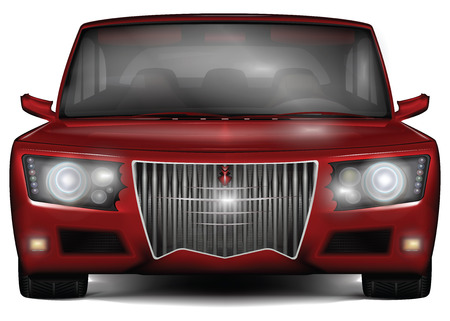 Red concept car. No trademark. Front view. Original design with decorative elements. Vector illustration, isolated on white background. Illustration