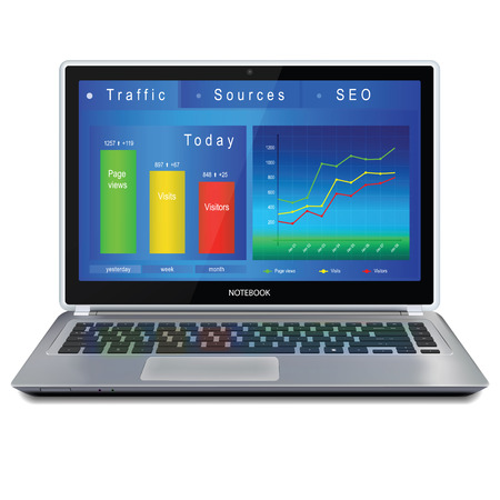 Web analytics charts and indicators of website on laptop computer screen. Vector illustration, isolated on white background. Illustration