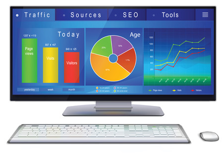 Web analytics charts, graphs and indicators of website on desktop computer screen. Dashboard of webmaster in blue design. Vector illustration, isolated on white background. Illustration