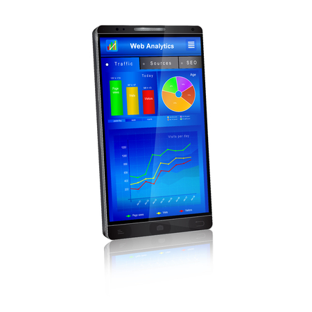 referrer: Web analytics charts and graphs on smartphone screen. Mobile application: dashboard of webmaster, real time website visitors traffic statistics. Vector illustration, isolated on white background.