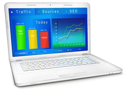 Website traffic reporting data on laptop screen. Dashboard of webmaster in blue design: analytic graphs and charts. Three-quarter view. Vector illustration, isolated on white background.
