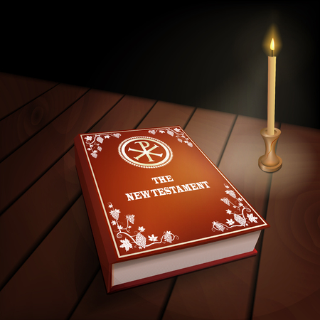 New Testament book with red cover on wood table with burning candle. Dark background. Close up vector illustration.