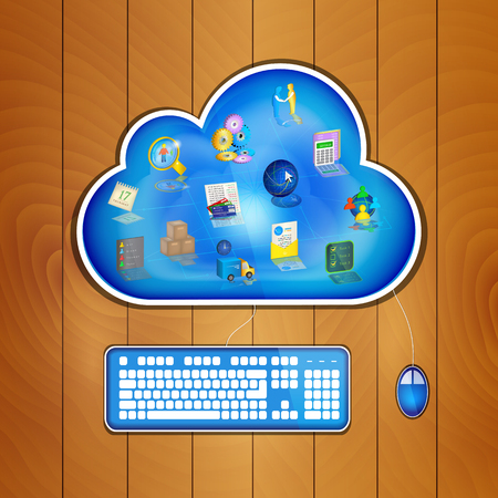 Business management icons at blue cloud on wood table, keyboard and mouse plugged in. Cloud business management concept. Vector illustration.