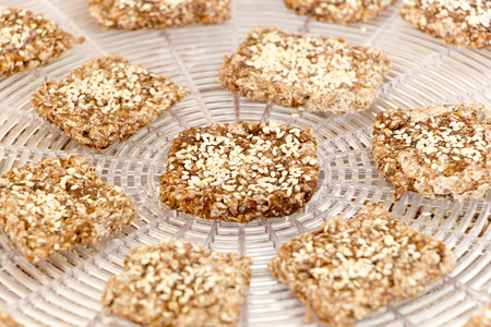 Vegan cookies from wheat with wheat germ, raisins and sesame in preparing process on the dehydrator grid. Stacked in circle shape. Top angle view. Close up photo. Zdjęcie Seryjne