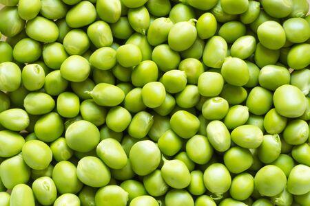 Draufsichthintergrund der frischen grünen Erbsen. Frische runde hellgrüne essbare Erbsen aus eigenem Anbau im Rahmen. Nahaufnahme. Rohkost. Gesundes Ernährungskonzept. Natürliches Bio-Produkt.