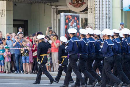 Donetsk, Donetsk People Republic, Ukraine - June 24, 2020: Cadets of military schools in the form of various types of troops march along the main street of the city during the Victory Parade.