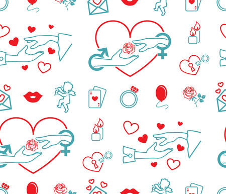 Satz von Vektorsymbolen. Thema Liebe, Hochzeit, Verlobung. Flaches Design