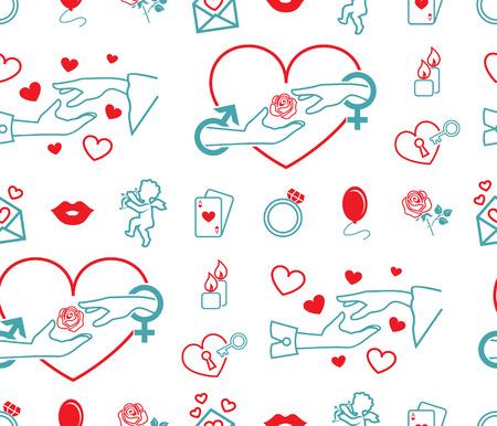 Set of vector symbols. Subject of love, wedding, engagement. Flat design